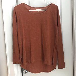 Madewell linen long sleeved burnt orange shirt